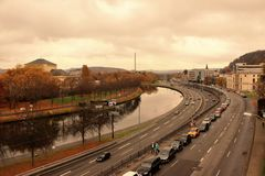 River Saar. In the district of the ancient part of the city Saarbrucken Stock Photography