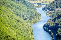 River Saar and Wooded Hills Royalty Free Stock Image