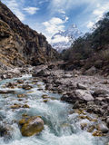 River in Sagarmatha National Park & Ama Dablam Mountain royalty free stock image