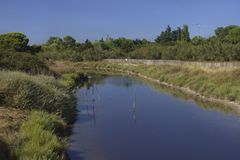River and Salines Villeneuve les Maguelone, France. royalty free stock photography