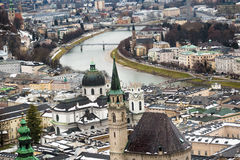 River Salzach in Salzburg at cold winter day Royalty Free Stock Photography