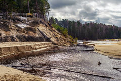 River with sandy coasts in Latvia Royalty Free Stock Images