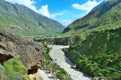 River Sarasvati at Mana Village, Uttarakhand, India. River Sarasvati is a holy river described in ancient scriptures of India... After its origin, it runs only Royalty Free Stock Images