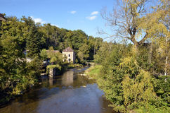 The river Sarthe at Saint-Ceneri-le-Gerei Stock Images