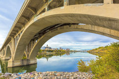 River through Saskatoon. The South Saskatchewan River that runs through the city of Saskatoon, Canada under the Broadway Bridge Royalty Free Stock Image