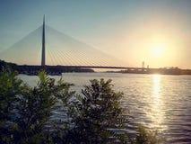 River Sava. Bridge on the river Stock Photo