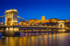 River scene of Budapest, Hungary, with the Chain Bridge and roya Royalty Free Stock Images