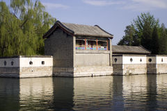 River scene of Chinese pavilions and willow trees Royalty Free Stock Photography