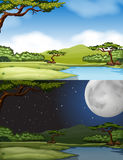 River scene at daytime and nighttime Stock Photo