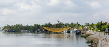 River scene with fishing nets in Quang Nam, Vietnam Stock Photography