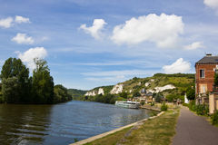 River scene - Le Petit Andely. Beautiful scene of idyllic little town of Le Petit Andely, France Stock Photography