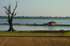 River scene in Myanmar (Burma) at sunset Royalty Free Stock Photography