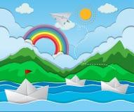 River scene with paper boat floating stock illustration