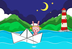 River scene with rabbit fishing on paperboat Stock Photo