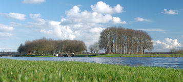 River scenery. Panorama of a river in europe Royalty Free Stock Photo