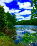 River Scenery From The Shore. Scenery of a beautiful river Royalty Free Stock Photo