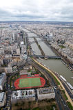 River Seine. Sight of the river Seine from the top of the Eiffel Tower in a cloudy day Royalty Free Stock Photo