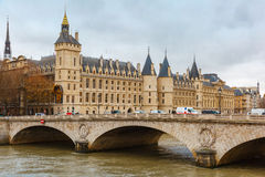 River Seine and the Conciergerie in Paris, France Royalty Free Stock Photos