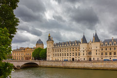 River Seine and the Conciergerie in Paris, France Stock Photos