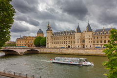 River Seine and the Conciergerie in Paris, France Stock Images
