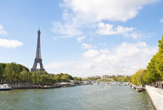 River Seine and the Eiffel Tower Stock Images