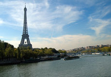 River Seine and Eiffel Tower. Paris, France Royalty Free Stock Photos