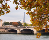 River Seine and Eiffel Tower with autumn leaves in Paris, France stock image
