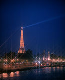 River Seine with Eiffel Tower at night. Stock Photo