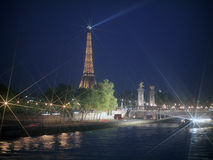 River Seine with Eiffel Tower at night. Royalty Free Stock Photo