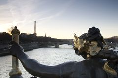 River Seine and the Eiffel Tower, Paris Royalty Free Stock Photos