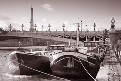 River Seine with the Eiffel Tower, Paris Royalty Free Stock Photo