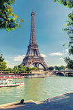 The River Seine with the Eiffel tower in Paris Stock Images