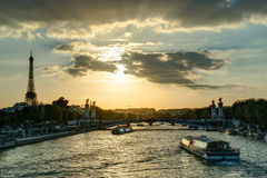 The River Seine with the Eiffel tower Stock Photos