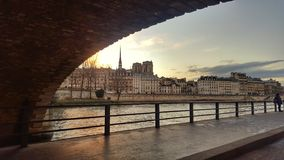 The river seine in the evening, Paris, France Royalty Free Stock Photos