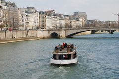 River Seine excursion boat, Paris Royalty Free Stock Photos