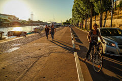 River Seine in Paris in the sun evening Stock Photos