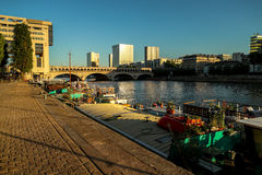 River Seine in Paris in the sun evening Royalty Free Stock Images