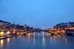 The River Seine and shining lights, Paris Royalty Free Stock Images