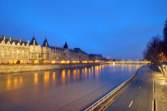 The River Seine and shining lights, Paris Stock Photos