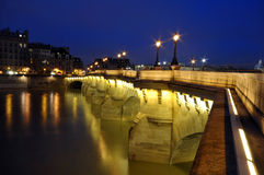 The River Seine and shining lights, Paris Stock Photo
