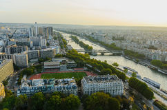 River seine sunset Stock Photography