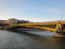 River Seine Yellow Bridge, Paris Royalty Free Stock Photography
