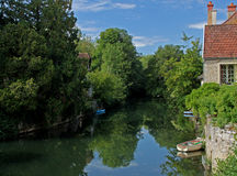 River serein landscape,Noyers,Burgundy,france. A view from the bridge overlooking the river Serein, Noyers, Burgundy, France Royalty Free Stock Images