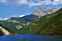 Beautiful view of the river among the mountains Royalty Free Stock Photo