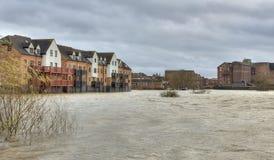 River Severn breaks its banks at Tewkesbury Royalty Free Stock Photo