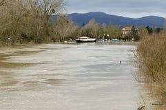 River Severn breaks its banks at Upton Upon Severn Stock Photo