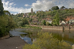 River Severn at Bridgenorth. The River Severn, which is Britains longest river, flows past the town of Bridgenorth, Shropshire, England Stock Image