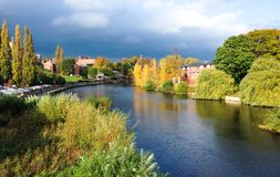 River Severn in Shrewsbury, England. The River Severn passing through Shrewsbury in Shropshire, England. Photographed during a sunny period before a rain storm stock photo