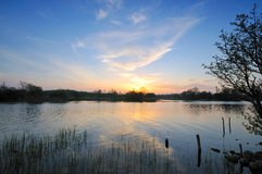 River Shannon. Sunset on the Shannon at Rooskey, Co.Roscommon, Ireland Stock Photography