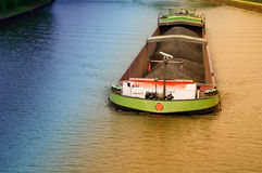 River ship. On water with goods Royalty Free Stock Photography